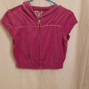 Hooded, zipper, crop top.
